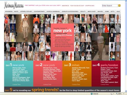 Screen Capture of Neiman Marcus Home Page